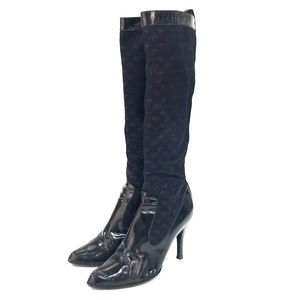 Louis Vuitton Tall Patent Leather & Monogram Boots